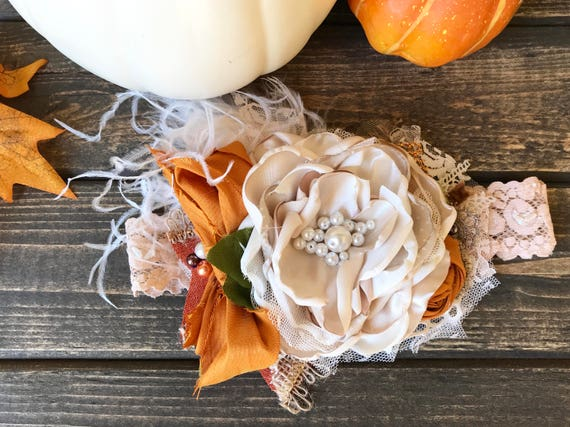 Baby Headband-pumpkin patch- Persnickety Headband- Baby Girl Headband- Couture Baby Headband- Matilda Jane