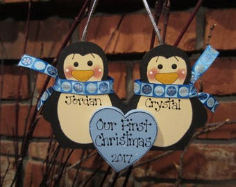 Personalized Penguin Couple Ornament - First Christmas
