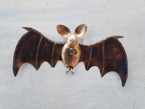 Halloween, key hook, wall hook,  door hanger, creepy decor, culinary decor, bat, fruit bat, bat wings, feel good art, bat ears,