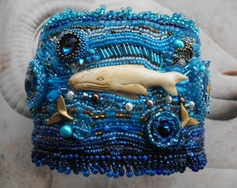 Sea Cuff Embroidered Multigemstone and Ox Bone Vintage Crystals, Pearls and Charms Dramatic Big Bold Sea to Runway Statement Cuff Unique