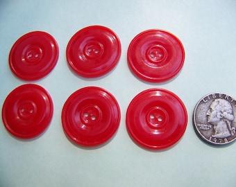 Set of 6 Vintage Plastic Red Bakelite Buttons