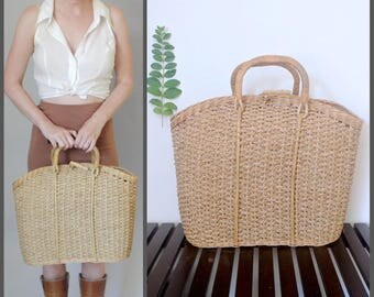 Vintage French Country Woven Large French Market Tote Straw Market Bag Straw Beach Bag French Basket Basket Purse Straw Handbags Market Tote