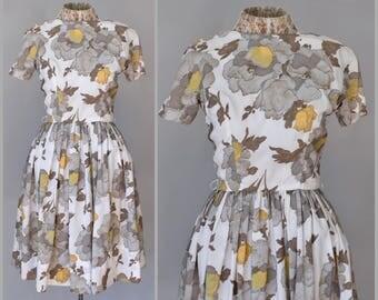 50s Jonathan Logan Day Dress Silk Dress Fit and Flare 1950s Dress Floral Print Dress Fitted Full Skirt Metal zipper Small Dress Knee Length