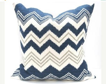 15% Off Sale Decorative pillow BLUE GRAY Pillow , Blue Pillows Accent Pillows, Cushion Covers  Burlap ZigZag TWO 16x16 Pillow Covers Toss Pi