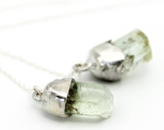 beryl earrings, crystal earrings, raw gemstone, ear threads, rough stone, silver earrings, gifts for her, threader earrings, recycled silver