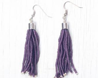 Matte Deep Purple with Galvanised Silver accent Tassel Earring, Seed Beads Drop Earring, Handmade in Nepal, Beaded earring with tassel