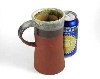 Ceramic mug, rusty, red stoneware, unique mug, wheel thrown pottery, stein, coffee mug