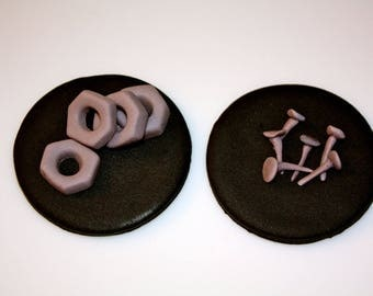 NUTS AND BOLTS  -  Fondant Cupcake, and Cookie Toppers - 1 Dozen