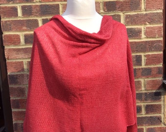 Oversized Geranium Red Wrapover Knit Shawl. Mothers day gift for Nanna Mom Auntie Outlander style shawl Travel Wrap Blanket Shawl