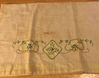 Linen Embroidered Tea Towel