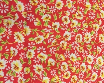 Cotton, Red Floral Fabric, Dress Fabric, Quilting Fabric