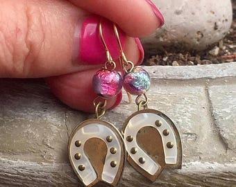 1stDayofSummerSALE MOP Horseshoe Earrings Vintage 1930 1940  Horse Lover Mother of Pearl Horseshoe Dangle Drop Rustic Romantic