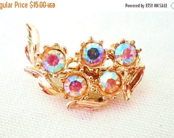 ON SALE Vintage Small Brooch Gold With Aurora Borealis Rhinestones, Collectible Jewelry Pin, Bridal Brooch Bouquet Wedding Special Occasion