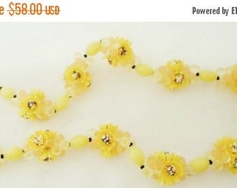 ON SALE Vintage West Germany Necklace, Shades Of Yellow, Yellow Lucite Beads, Celluloid Flowers, Bead Clusters, Multi Colored Centers, Light
