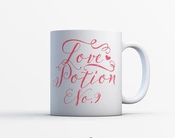 LOVE POTION NO.9 Satin Coated Mug - Valentines Mug - Valentines Gift