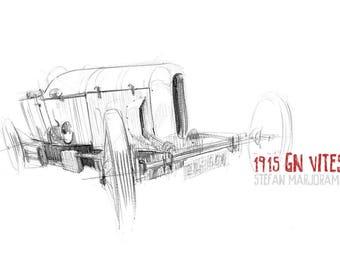 1915 GN Vitesse - Original A3 Pencil Sketch
