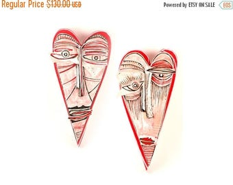 Ceramic red  heart, Wall Sculptures, Love ornaments, Gift for couple, Abstract ceramic, Ceramic wall art, Wall art sculpture