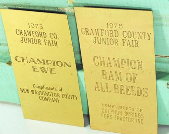 Vintage Brass Plates from 1970s Livestock Trophies at County Fair, Ram and Ewe Trophy Plates