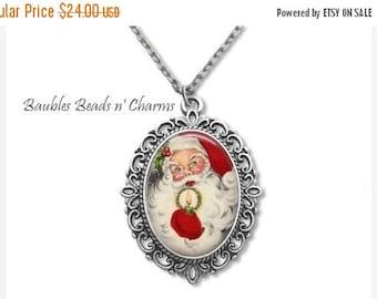 Sale Santa Necklace, Christmas Necklace, Holiday  Necklace, Santa Pendant Necklace, Christmas Jewelry, Santa Necklace-2
