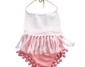 White Coral Pink Boho Tribal Native Tassel Infant Girl  Baby Romper Sunsuit Sun Suit