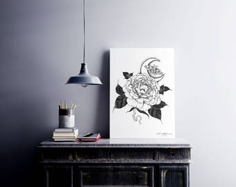 A4 Illustrated 'Rose Moon' Black and White Print