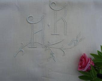 French Linen Metis Sheet Antique Embroidery Monogrammed  AR - UNUSED Circa 1940