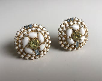 Vintage 1940s Large HOBE Rhinestone Earrings