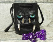 Dice Bag Marble Bag Fairy Pouch With Monster Face RPG Drawstring Bag Rune Bag Magic The Gathering Gamer Gift Black Leather 29