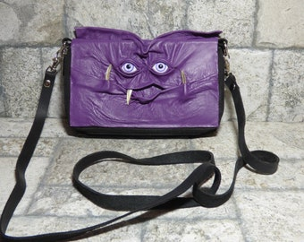 Wallet Purse Cross Body With Face Small Monster Harry Potter Labyrinth Purple Black Leather Detachable Strap Convertible 394