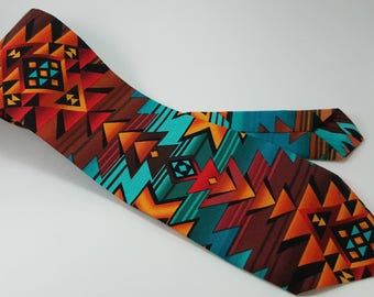CLEARANCE! Native Print Tie, Tribal Print Tie, Southwest Style Tie, Necktie, Men's Tie, Novelty Tie, Men's Accessories, Turquoise, Coral