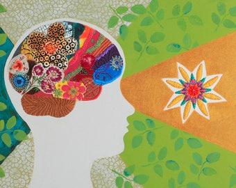 Neuro Art. Fine Art. Original and One of a Kind. Brains. Neuroscience. Mindful. Yoga. Brains, Alchemist