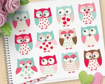 Valentine's Day Owls Clipart, Valentine's Day Clipart, Love Birds, Blue and Pink, cute owls, Commercial Use, Vector clip art, SVG Cut Files