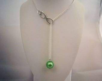 Green Pearl Necklace and infinity sign