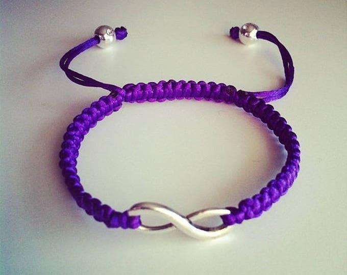Purple sign adjustable Shamballa bracelet infinity