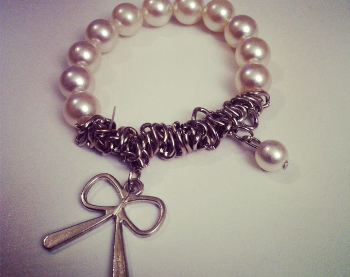 Bracelet beads and silver metal chain