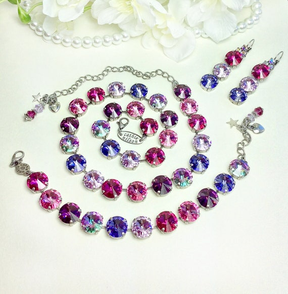 "Swarovski Crystal 12MM  ""Lilacs and Roses"" Necklace - Gorgeous Rosy Pinks, Fuchsia, Violets and Amethyst- Designer Inspired -  FREE SHIPPING"