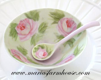 SMALL BOWL with Spoon, Artist Signed, Handpainted Rose Cafe au Lait Bowl, Tea Party, Salt Cellar, Hostess Gift