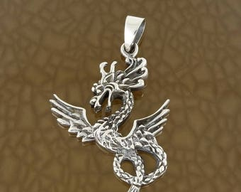 ON SALE Sterling Silver Flying Dragon Pendant