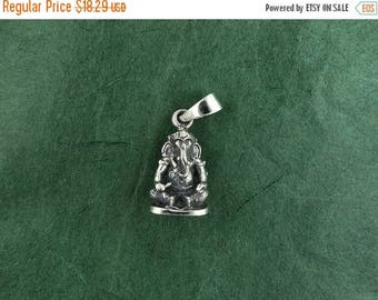 ON SALE Sterling Silver Ganesh Pendant Sanskrit Lord of Success Free Shipping
