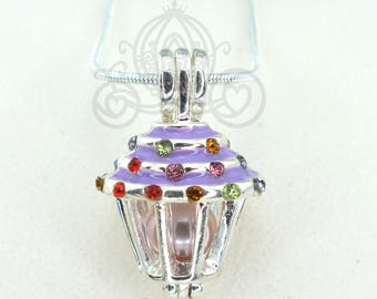 Pick A Pearl Cage Necklace Purple Cupcake Crystal Accents Silver Plated Locket Charm Necklace