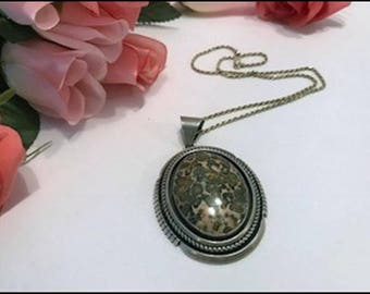 Awesome Navaho Ray Bennett Sterling Silver Jasper Pendant &  Chain   Neck-2366a-071117190