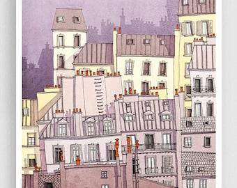30% OFF SALE: Paris, Montmartre (purple) - Paris illustration Drawing Art Prints Posters Home decor Wall decor Gift ideas for her Modern Liv