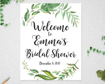 Greenery Bridal Shower Welcome Sign // Customised  // Printable // Leafy Watercolor // Bridal Shower // Welcome Sign // #PBP86