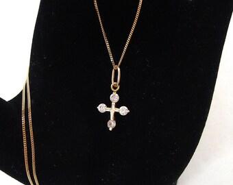 Vintage 14K / carat / gold cross pendant and chain Zircon stones