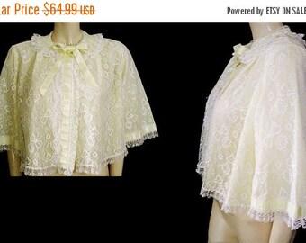 SALE Vintage Odette Barsa Lace Double Nylon Bed Jacket designer bed jacket barsa bed jacket 60s bed jacket yellow bed jacket robe