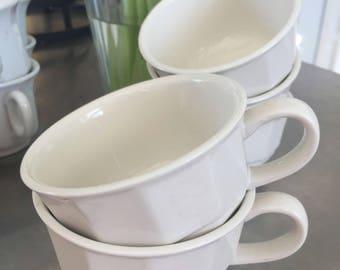 Vintage White Pfaltzgraff Ironstone Cups / Farmhouse White Ironstone / 1970's / SET OF '5'