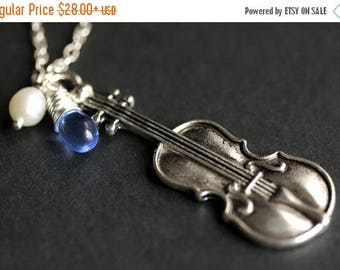 SUMMER SALE Violin Necklace. Classical Music Necklace. Cello Necklace, Viola Necklace, Fiddle Pendant. Silver Charm Necklace Handmade Jewelr