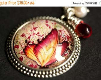 BACK to SCHOOL SALE Fiery Butterfly Necklace. Butterfly Pendant with Fresh Water Pearl and Glass Teardrop. Orange Necklace. Handmade Necklac