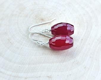 Ruby Earrings, July Birthstone Earrings, Ruby Red Agate Earrings, Gemstone Earrings, Handmade Earrings, Sterling Silver Earrings