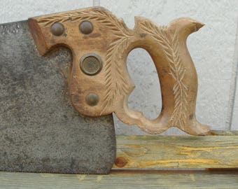 Disston No. 12 Hand Saw Made Between 1896-1917, Carved Handle, Well Marked & Unrestored